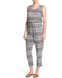 Caslon - Sleeveless Woven Drawstring Waist Jumpsuit - Lyst