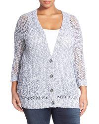 Caslon - V-neck Open Stitch Cardigan (plus Size) - Lyst