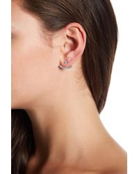 Native Gem - Sterling Silver Pave Crescent Ear Jackets - Lyst