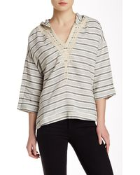 Twelfth Street Cynthia Vincent - Embroidered Stripe Hooded Pullover - Lyst