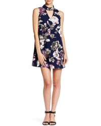 Peach Love California | Flower Print Keyhole Sleeveless Swing Dress | Lyst