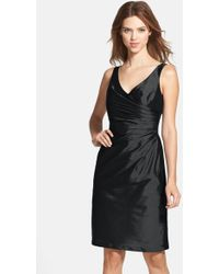 Alfred Sung - Satin Side Pleat Satin Sheath Dress - Lyst