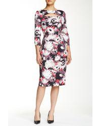 Debbie Shuchat - 3/4 Length Sleeve Printed Dress - Lyst