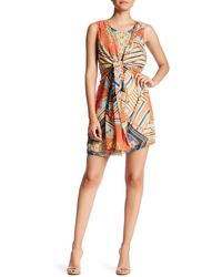 Ark & Co. - Tie Front Printed Dress - Lyst