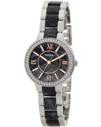 Fossil - Women's Virginia Crystal Accented Bracelet Watch - Lyst