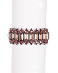 French Connection - Crystal Triangle Stretch Bracelet - Lyst