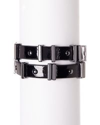 French Connection - Riveted Faux Leather Bracelet - Lyst