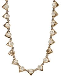 French Connection - Triangle Simulated Pearl Link Necklace - Lyst
