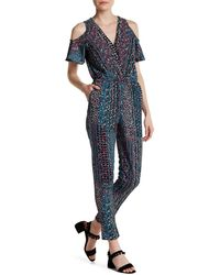 Fraiche By J - Cold Shoulder Floral Print Jumpsuit - Lyst