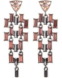 French Connection - Crystal Linear Chain Drop Earrings - Lyst