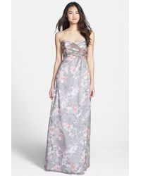 Amsale - 'amore' Floral Print Silk Chiffon Gown - Lyst