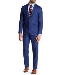 Strong Suit - Guiletta Blue Three Button Notched Lapel Linen Trim Fit Suit - Lyst