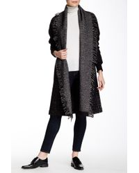 L.A.M.B. - Knit Sweater Plaid Fringe Wool Blend Coat - Lyst