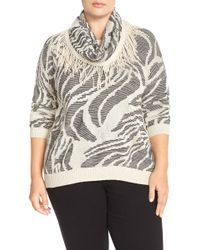 NIC+ZOE - 'oasis' Scarf Top (plus Size) - Lyst