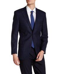 Ike Behar - Blue Check Double Button Notched Lapel Jacket - Lyst