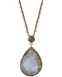 Native Gem - Yellow Gold Vermeil Ilume Blue Chalcedony Druzy Hand Crochet Necklace - Lyst