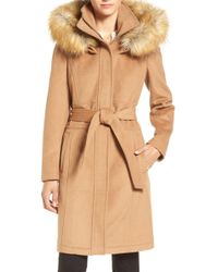 Ivanka Trump - Wool-Blend Coat With Removable Faux-Fur Trim Hood - Lyst