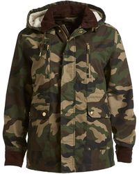 Izzue - Hooded Faux Shearling Lined Camouflage Jacket - Lyst