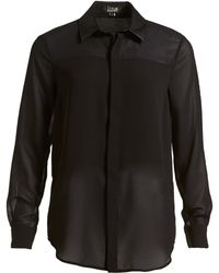Izzue - Faux Leather Collar Chiffon Shirt (women) - Lyst