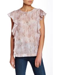 The Odells - Flutter Sleeve Printed Blouse - Lyst