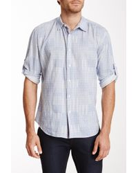 Elie Tahari - Steve Button-up Sleeve Printed Woven Shirt - Lyst