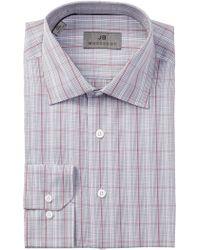 JB Britches - Long Sleeve Trim Fit Plaid Dress Shirt - Lyst