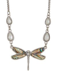 Lucky Brand - Crystal Detail Dragonfly Pendant Collar Necklace - Lyst