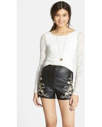 PPLA - Embroidered Faux Leather High Waist Shorts (juniors) - Lyst