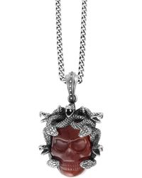 King Baby Studio - Sterling Silver & Carved Red Agate Skull Large Medusa Pendant Necklace - Lyst