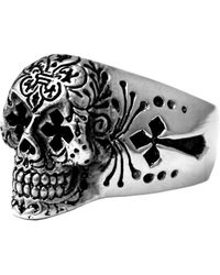 King Baby Studio - Sterling Silver Day Of The Dead Skull Ring - Size 10.5 - Lyst