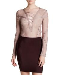 Wow Couture - Long Sleeve Front Lace Up Open Knit Bodysuit - Lyst