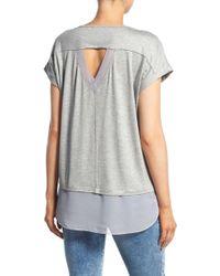 Pleione - Cutout Back Jersey & Chiffon Top (regular & Petite) - Lyst