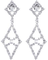 CZ by Kenneth Jay Lane - Cz Accented Lattice Diamond-shaped Earrings - Lyst