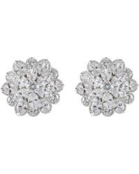 CZ by Kenneth Jay Lane | Oval Cz Cluster Stud Earrings | Lyst