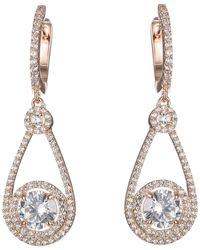 CZ by Kenneth Jay Lane - Round Cz & Pave Halo Drop Earrings - Lyst