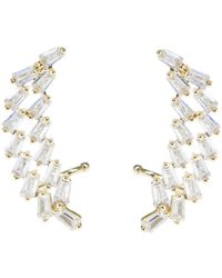 CZ by Kenneth Jay Lane | Tapered Baguette Double Row Cz Crawler Earrings | Lyst