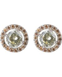 CZ by Kenneth Jay Lane | Cz Floating Pave Halo Stud Earrings | Lyst