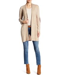 Peach Love California - Open Front Elbow Patch Cardigan - Lyst