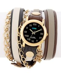 La Mer Collections - Women's Osaka Chain Leather Wrap Watch - Lyst