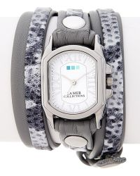 La Mer Collections - Women's Grey Snake Print Leather Wrap Watch - Lyst
