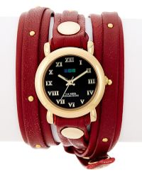 La Mer Collections - Women's Studded Leather Wrap Watch - Lyst
