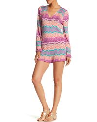 Macbeth Collection - Long Sleeve Chevron Romper - Lyst