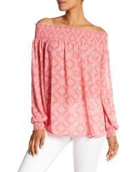 Macbeth Collection - Printed Off-the-shoulder Blouse - Lyst