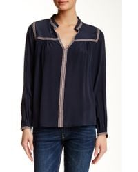 Hiche - Contrast Stitched Silk Blouse - Lyst