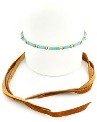Vanessa Mooney - The Dallas Yellow Gold Plated & Howlite Turquoise Beaded Wrap Choker - Lyst