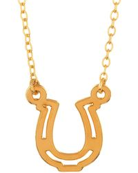 Kris Nations - 14k Gold Plated Horseshoe Charm Necklace - Lyst
