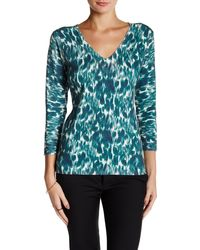 Laundry by Shelli Segal - Winter Shadow Printed V-neck Jumper - Lyst