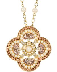 Carolee - Two-tone 12k Gold Casablanca Cachet Clover Necklace - Lyst