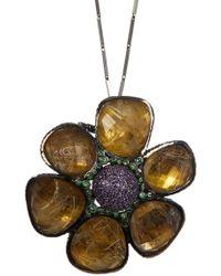 Stephen Dweck - Sterling Silver Amethyst, Tsavorite, & Golden Quartz Flower Pendant Necklace - Lyst