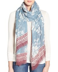 Hinge - 'floral Frolic' Embroidered Wrap Scarf - Lyst